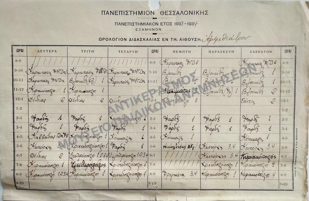 ΠΑΝΕΠΙΣΤΗΜΙΑΚΟ ΕΤΟΣ 1933-1934